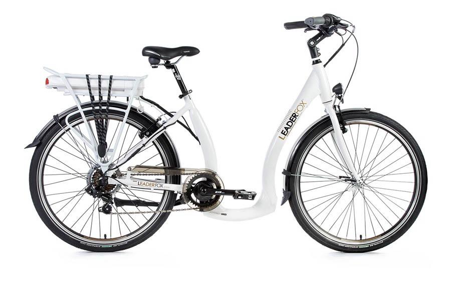 Bicicleta Electrica Leader Fox E-Holand, 7 viteze, 5 trepte de asistare, suspensie, frana Tektro, acumulator LG 16 Ah - alb