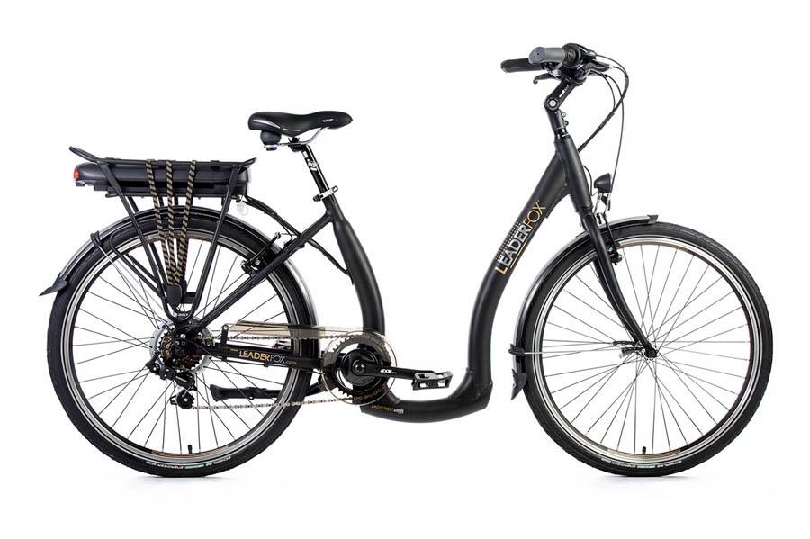 Bicicleta Electrica Leader Fox E-Holand, 7 viteze, 5 trepte de asistare, suspensie, frana Tektro, acumulator LG 16 Ah - negru